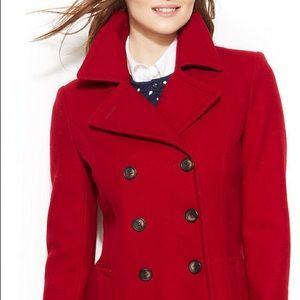 Jackets & Blazers - SzM red wool blend double breast peacoat